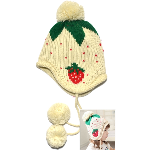 Kids Winter Warm Strawberry Pattern Knitted Cap Earflap Warm Beanie Beige