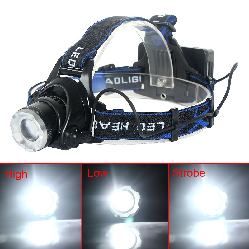 2000 Lumens CREE XM-L T6 LED Zoomable Headlamp Head Light +EU Charger+18650