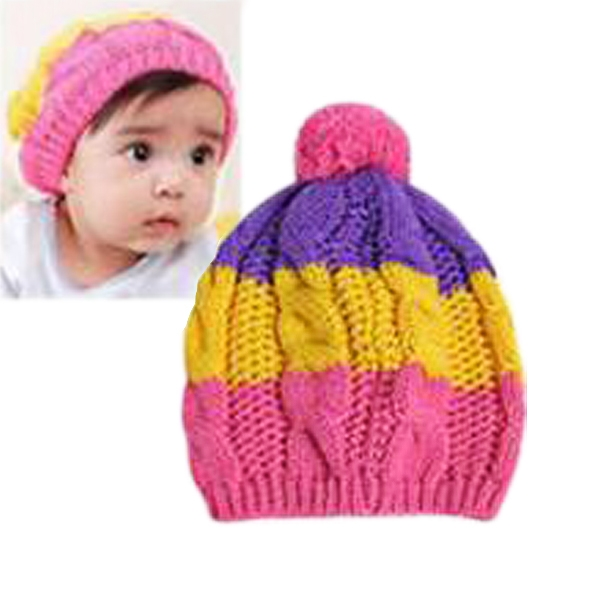 New Fashion Baby Children Crochet Knitting Cap Striped Rainbow Ball Cap