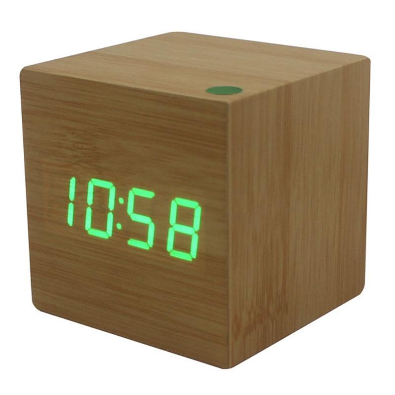 Modern Cube Wooden Wood Digital Led Desk Voice Control
