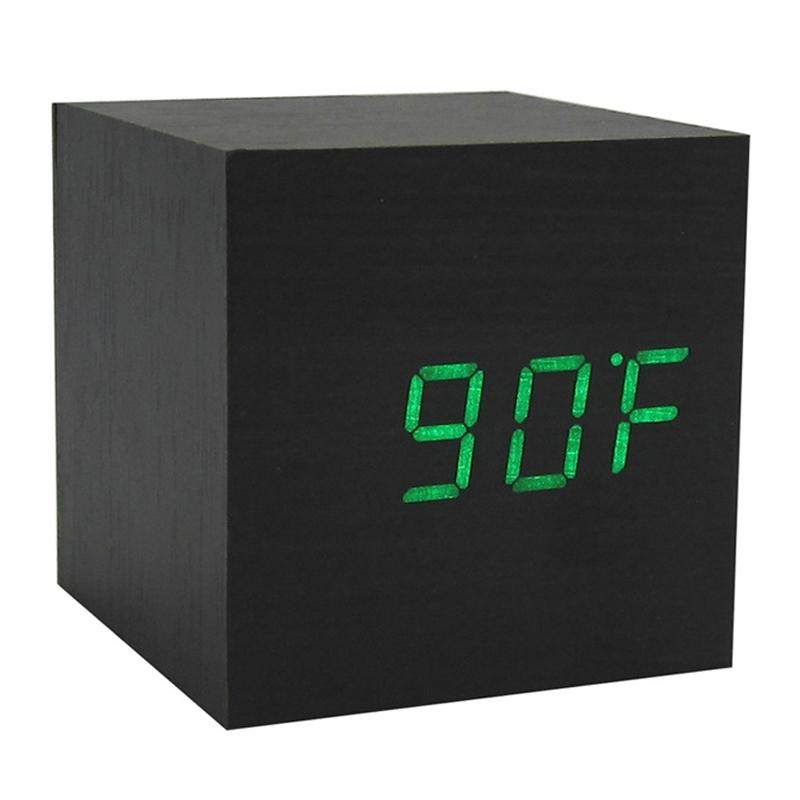 modern wooden wood digital led desk alarm clock