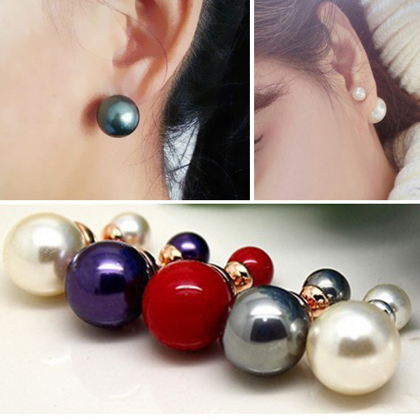 Elegance Celebrity Runway Double Pearl Beads Plug Earring Ear Studs Pins