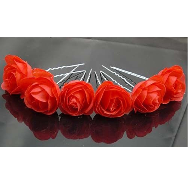 Rose Flower Hair Pins Wedding Bridal Bridesmaids Accessory 6pcs Red