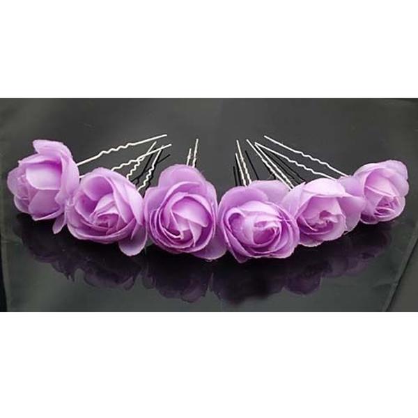 Purple Rose Flower Hair Pins Wedding Bridal Bridesmaids Accessory 6pcs