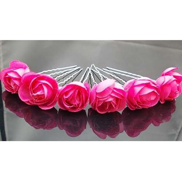 Rose Flower Hair Pins Wedding Bridal Bridesmaids Accessory 6pcs Rose Red