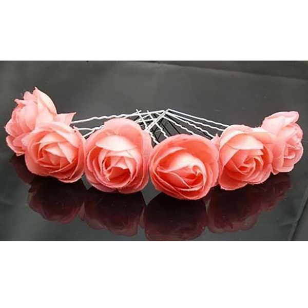 Indy Pink Rose Flower Hair Pins Wedding Bridal Bridesmaids Accessory 6pcs