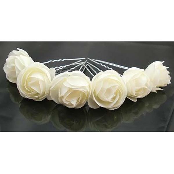 Beige Rose Flower Hair Pins Wedding Bridal Bridesmaids Accessory 6pcs