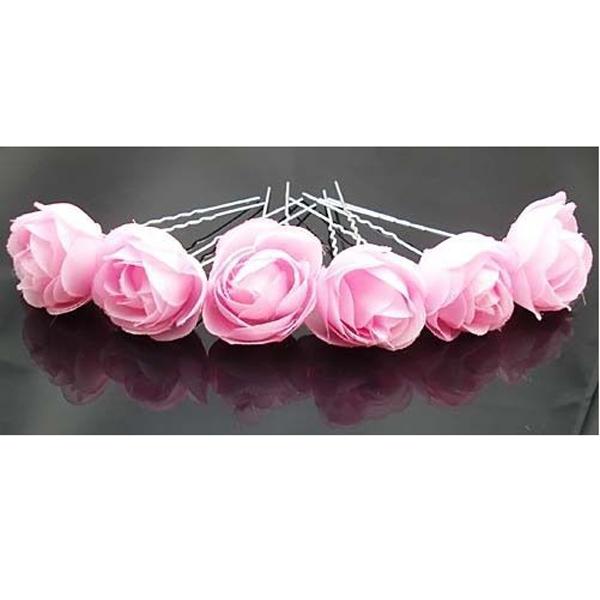 Pink Rose Flower Hair Pins Wedding Bridal Bridesmaids Accessory 6pcs