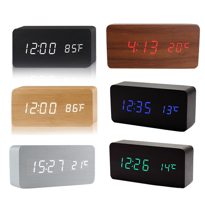 Voice Control LED Display Temperature Digital Wood Wooden Alarm Clock