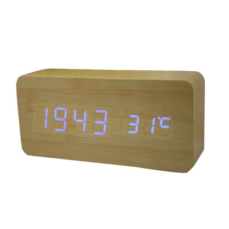 Voice-Control-LED-Display-Temperature-Digital-Wood-Wooden-Alarm-Clock ...