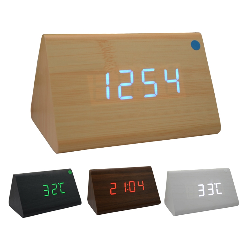 Triangle Digital LED Wooden Desk Alarm Clock Multifunction For Home Office