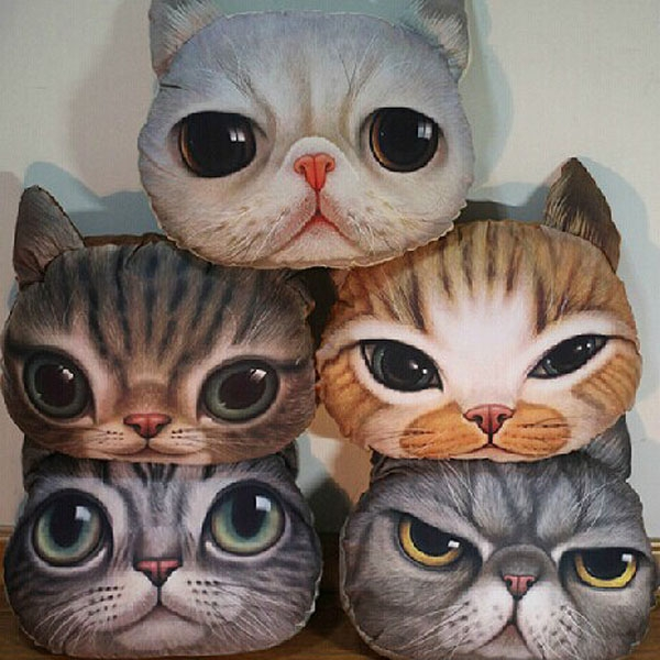 Cute 3D Cartoon Cat Back Cushion Home Decos Car Travel Nap Throw Pillow