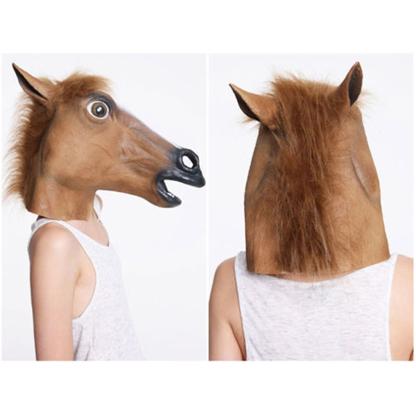 Horse Head Mask Creepy Halloween Costume Theater Prop Latex Rubber