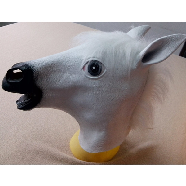 Horse Head Mask Creepy Halloween Costume Theater Prop Latex Rubber White