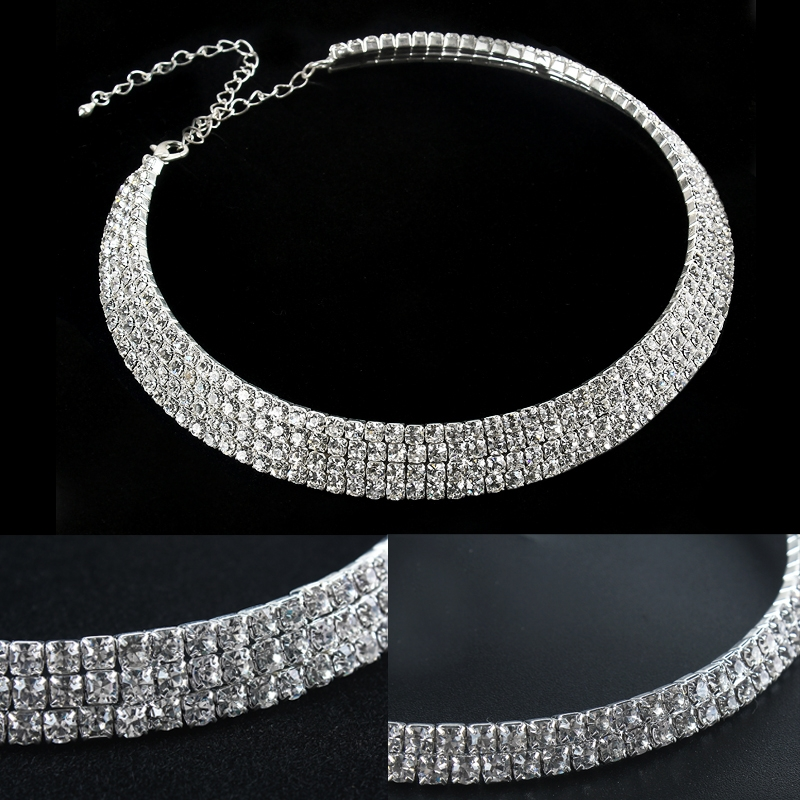Women's Crystal Accented Multi-Row Collar Necklace Bib Statement Choker