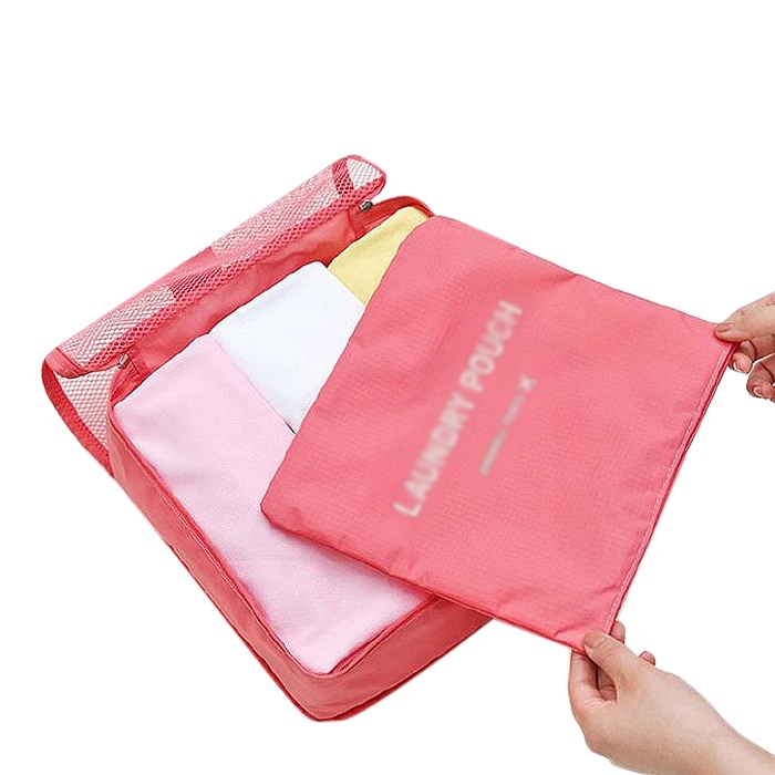 Portable Travel Shirt Laundry Pouchl Clothes Organizer Storage Bag Pink
