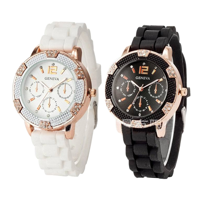 Stylish Geneva Silicon Wristwatch Women Girls Rhinestone Quartz Watch