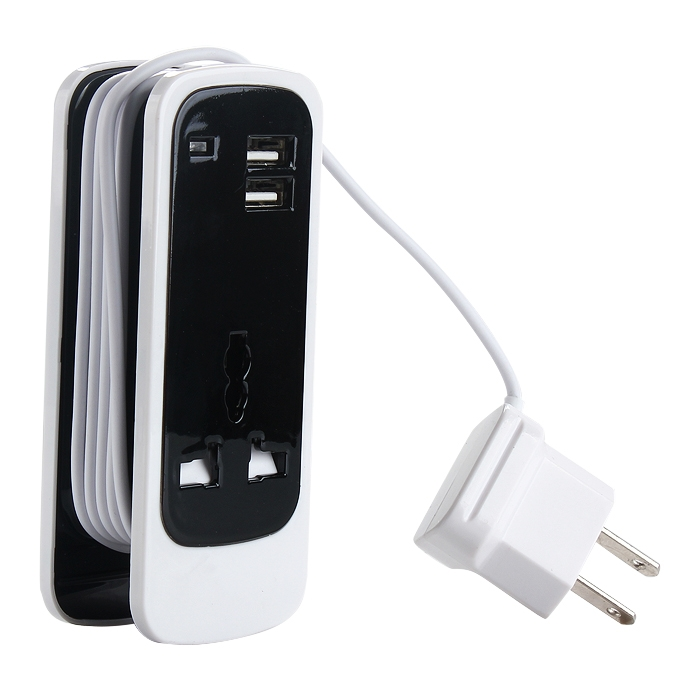 3 In 1 AC Home Socket Wall Charger Adapter w/Dual USB Port 5V 3.5A Output
