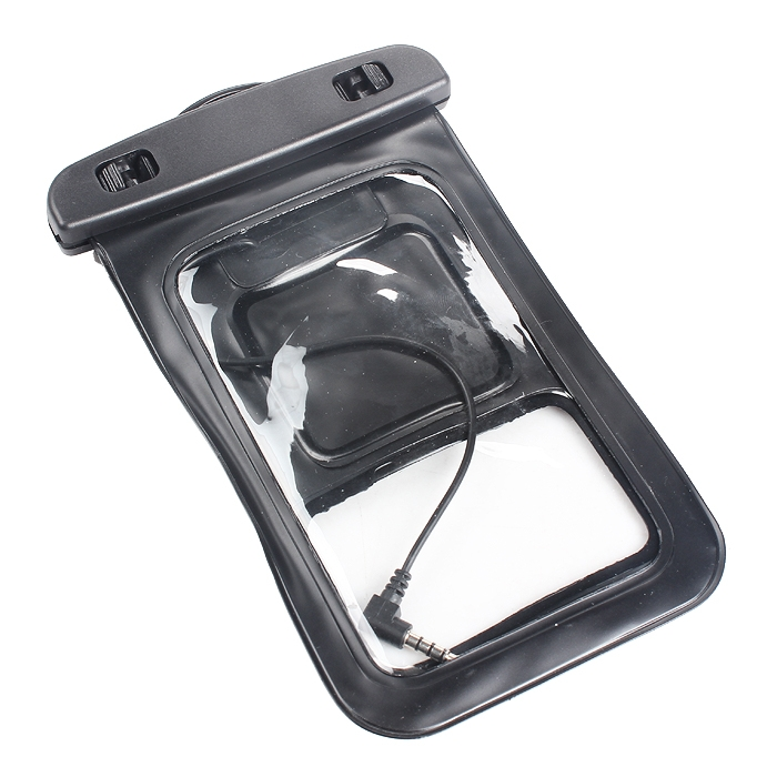 Universal Waterproof Cell Phone Dry Bag Case W/ Headset Jack Black