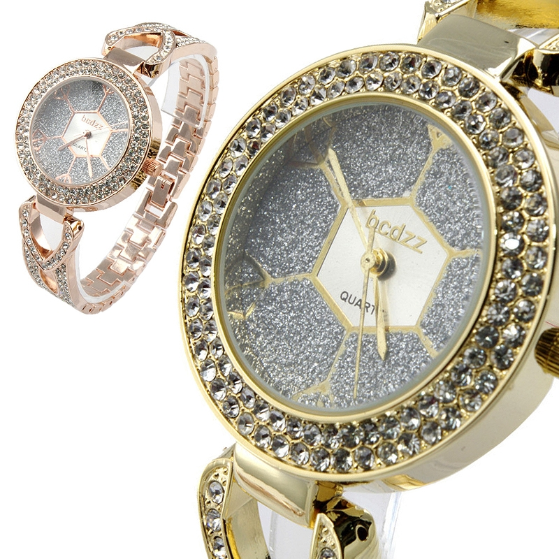 Charming Women Fashion Crystal Accented Bracelet Link Watch Jewelry Gift