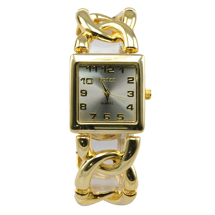 Women Ladies Cubic Square Dial Arabic Numeral Twist Chain Quartz Watch