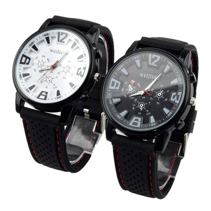 Unisex Round Sport Waterproof Quartz Wristwatch Silicone Strap