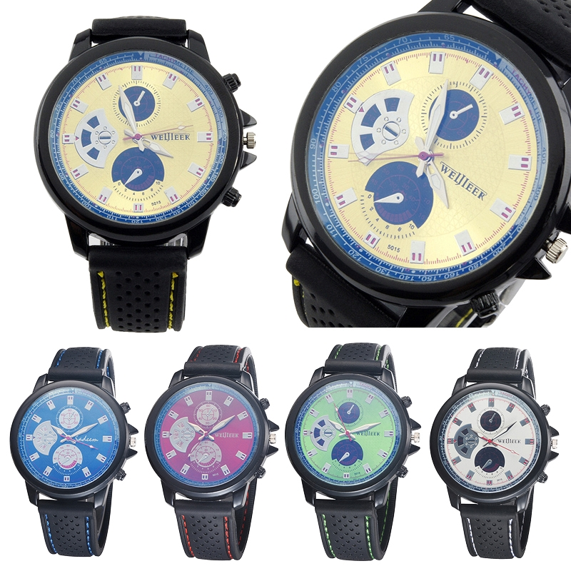 Big Round Dial Chronograph Unisex Silicone Sports Quartz Watch