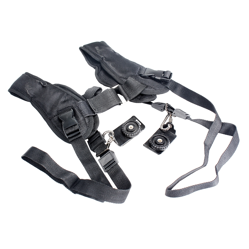 Black Quick Release Dual Shoulder Strap Belt For DSLR Camera Canon Nikon