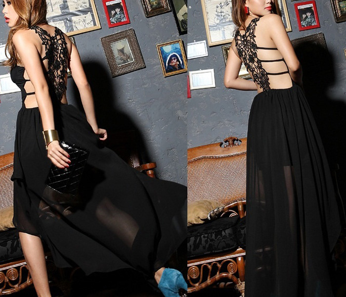 Long Chiffon Black Sexy Gown Ball Party Cocktail Evening Prom Dress Summe