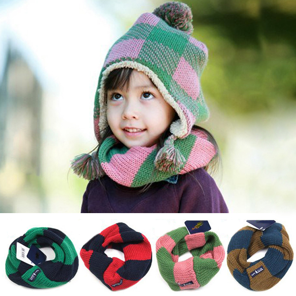 Soft Girls Boy Kids Child Winter Knitted Neck Warmer Scarf Circle Scarves