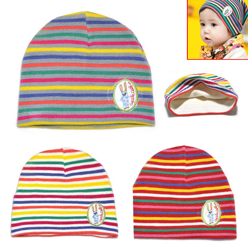 Child Baby Rainbow Striped Thicken Warmer Knitted Cap Warm Skull Cap