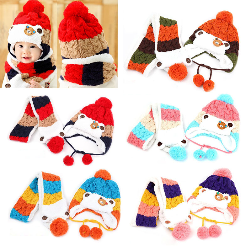 Colorful Baby Kid�s Cute Bear Crochet Knitted Hats Beanie Cap With Scarf