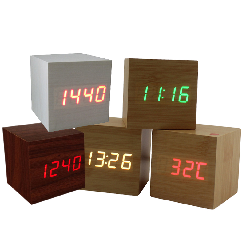 Modern Squared Wooden Digital Desk Alarm Clock Sound Control Multicolor