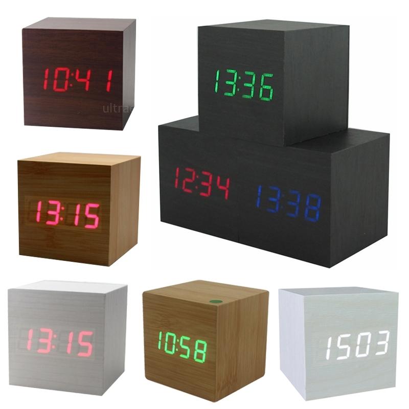 Modern Squared Wooden Wood Digital Desk Alarm Clock Sound