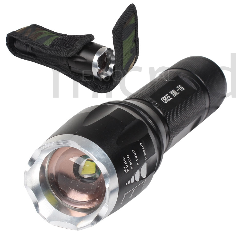 5 modes 3000 lumen cree xm l t6 led zoomable focus flashlight torch lamp holder. Black Bedroom Furniture Sets. Home Design Ideas