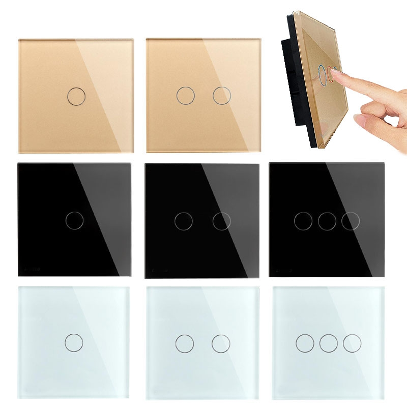 Good 1 Way Waterproof Fire Resistant Crystal Glass Panel Touch Wall Switch