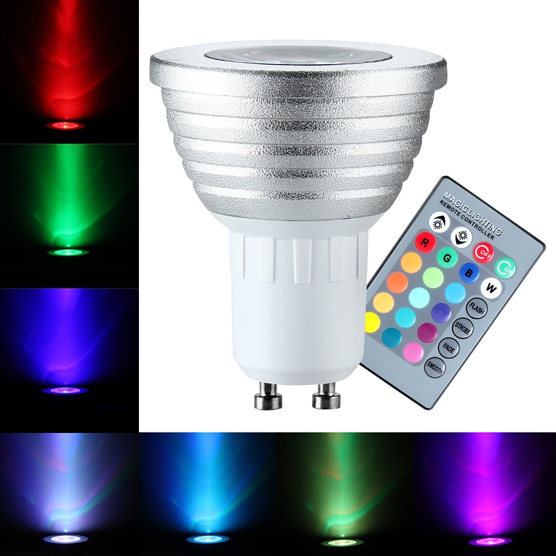 3w gu10 rgb led lamp 16 color changing light bulb w 24 key remote control new. Black Bedroom Furniture Sets. Home Design Ideas