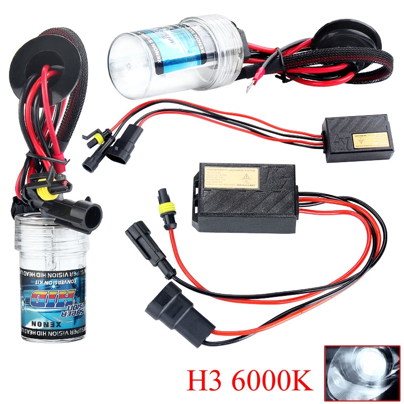 55W HID Xenon Conversion Lamp Bulb Vehicle Headlight Ballast Kit H3 6000K