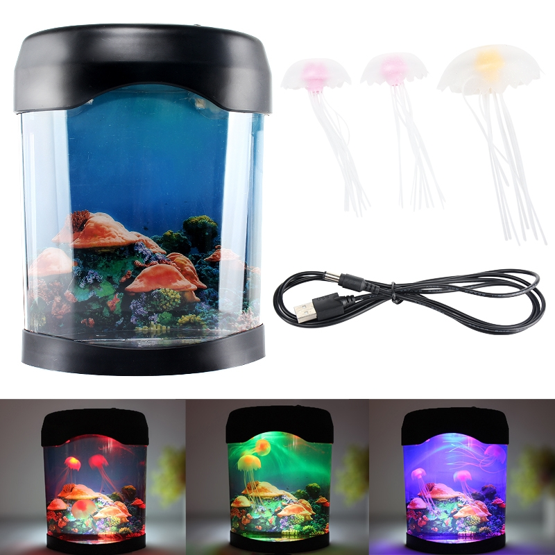 Jellyfish fish tank decor color changing lamp mood led for Fish tank lighting