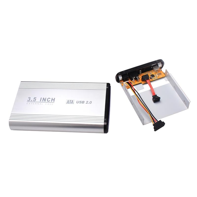 3.5 inch USB 2.0 SATA HDD HD Disk Hard Drive Enclosure External Case Silver