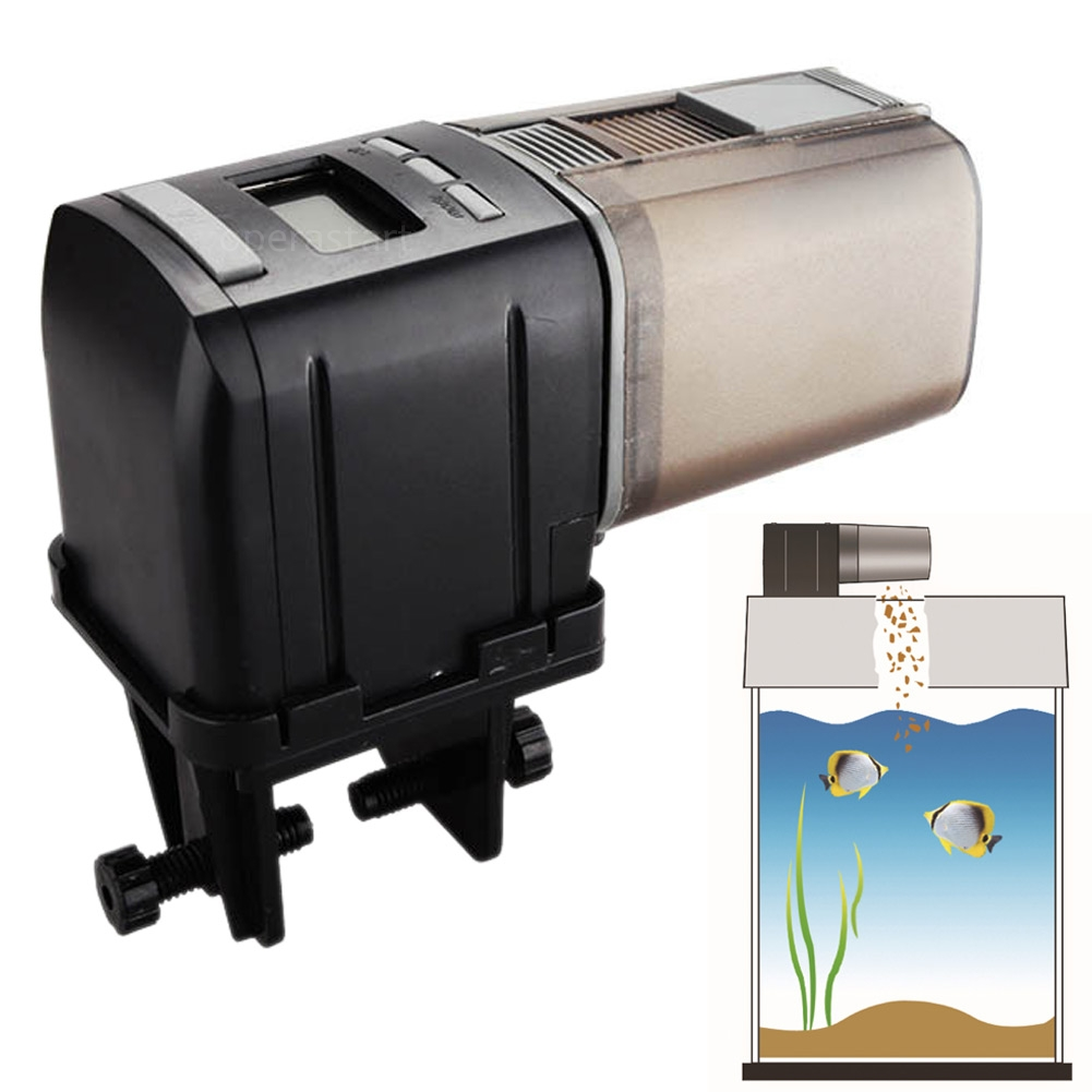 Automatic aquarium lcd fish food feeder feeding timer for Fish food dispenser