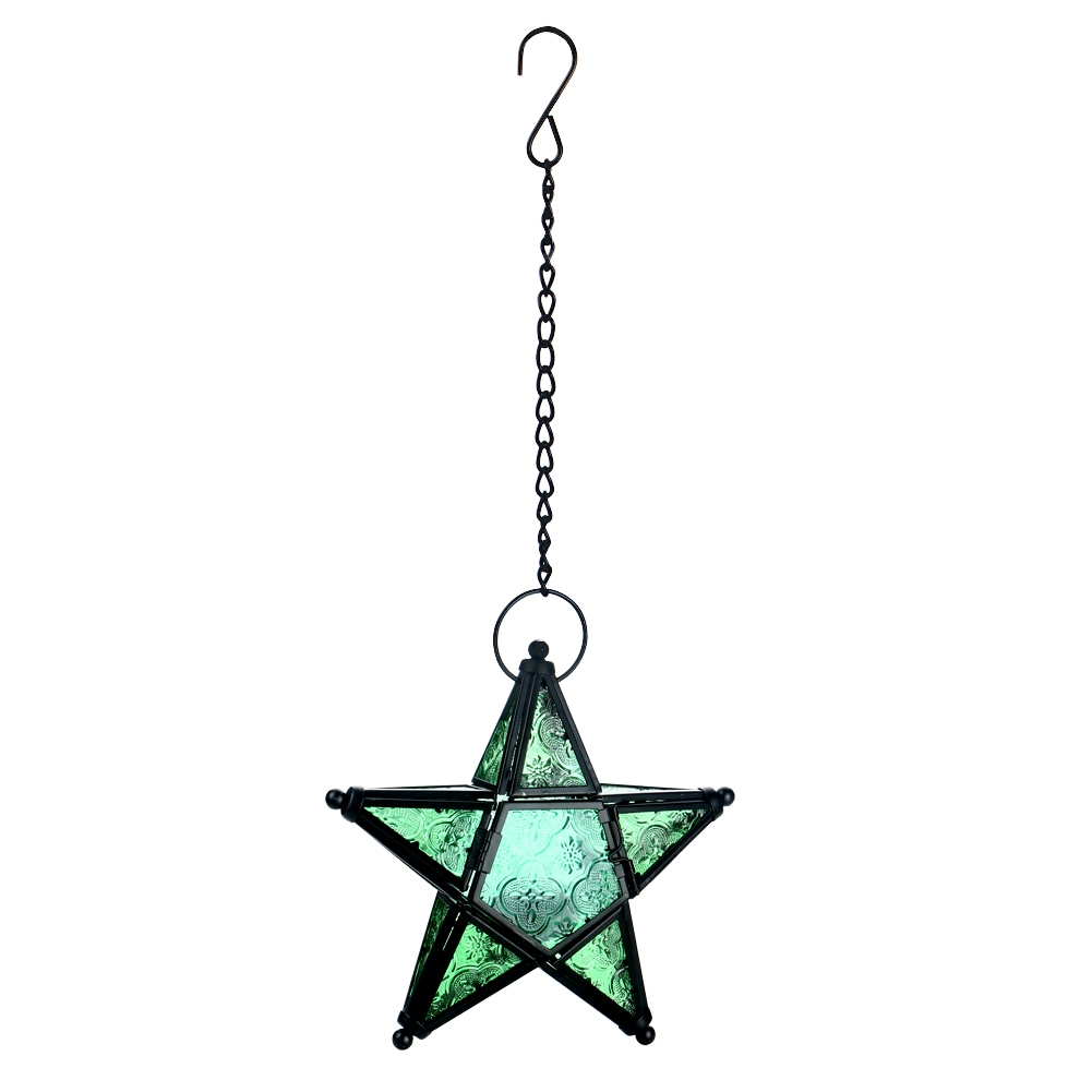 metal glass star lantern hanging candle holder for