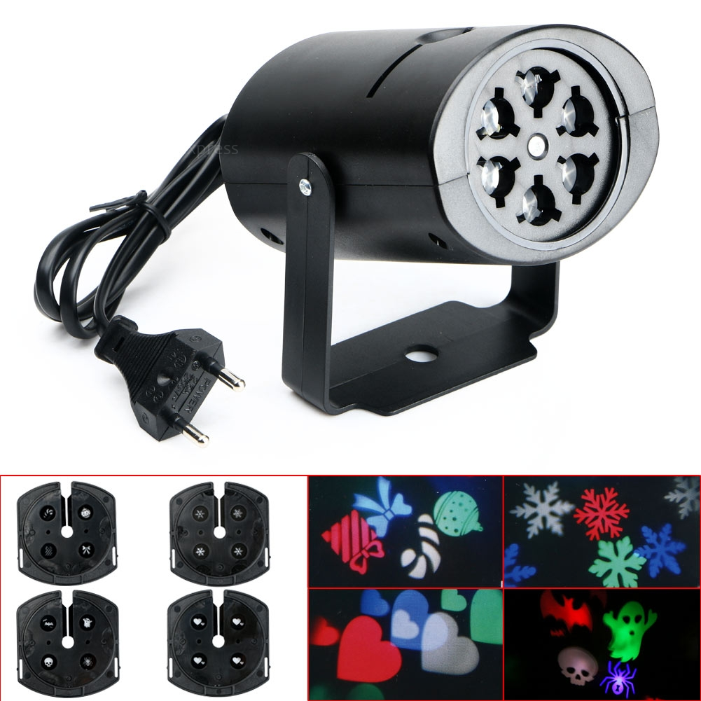 RGB LED LED Snowflake Landscape Laser Projector Wall Lamp Xmas Light 4 patterns