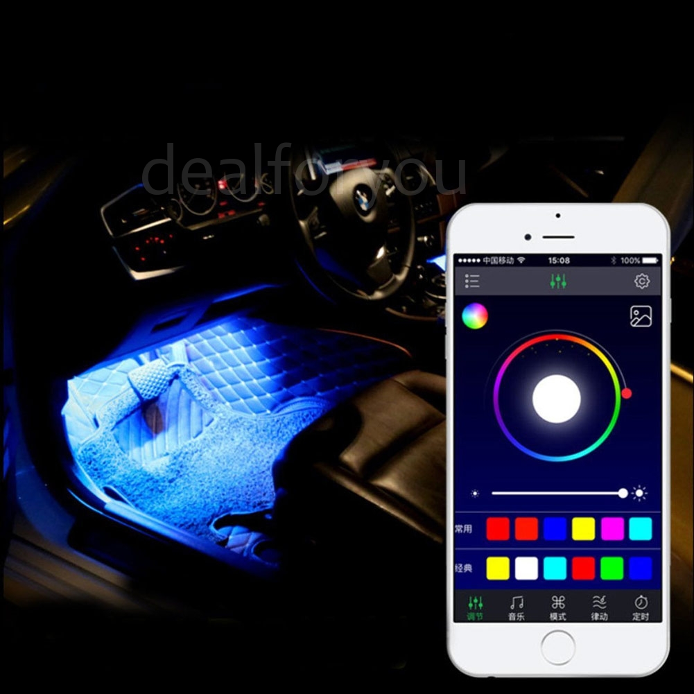 12led 5050sm rgb car atmosphere strip light interior w mobile phone app control ebay. Black Bedroom Furniture Sets. Home Design Ideas