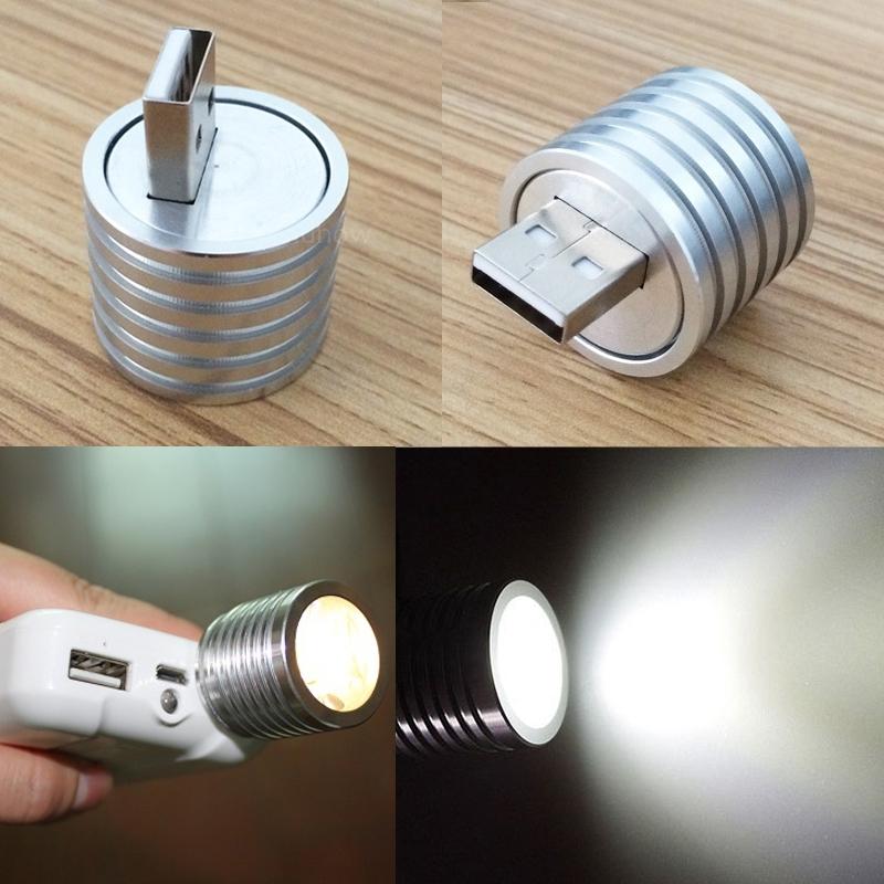 2w tragbare mini usb led strahler lampe mobile power taschenlampe silber. Black Bedroom Furniture Sets. Home Design Ideas