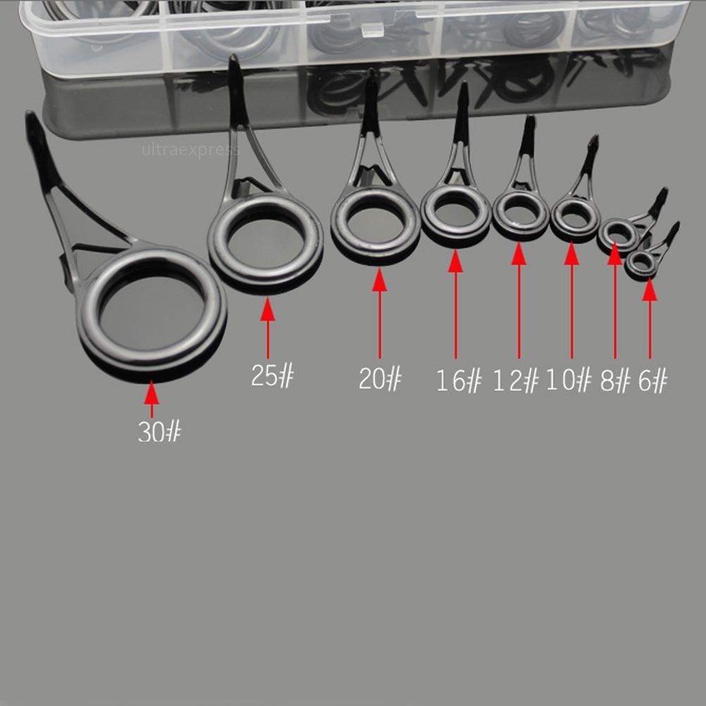 75pcs stainless steel fishing rod guide tip repair kit eye for Fishing rod eye repair