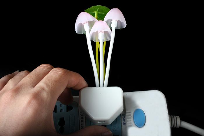 3 Mushroom With Lotus Leaf Multi-color LED Night Light Bed Light Lamp