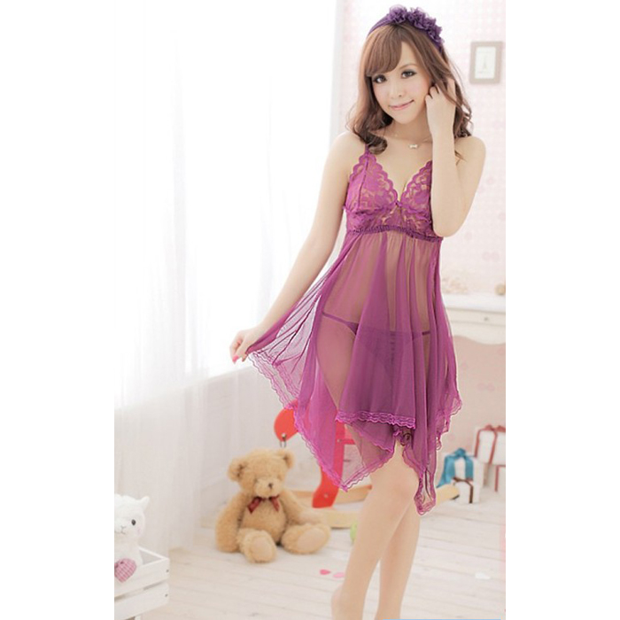Women Sexy hot Lingerie + G-string Mini Nightwear Dress Babydoll Purple