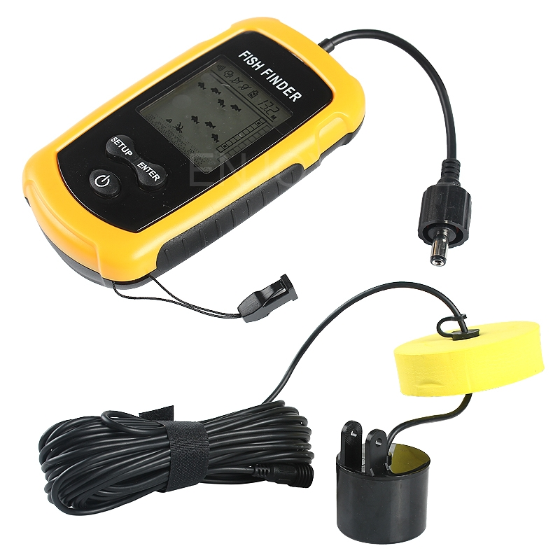 Practical Portable LCD Sonar Sensor Alarm Transducer Waterproof Fish Finder