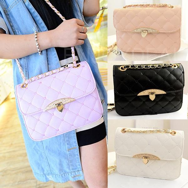 Fashion Women PU Leather Bag Satchel Lattice Rhombus Pattern Handbag Purse